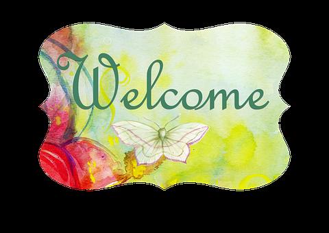 Door, Sign, Romantic, Welcome, Room, Green, Butterfly