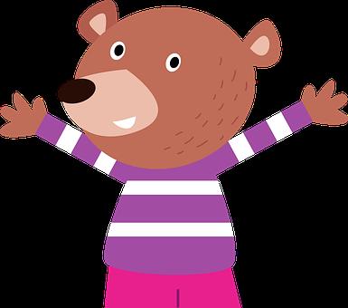 Illustrated Sticker, Black Bear, Sticker, Happy, Little