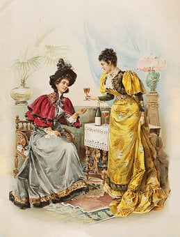 Women, Drinking, Wine, Vintage, Antique, Ladies, Old