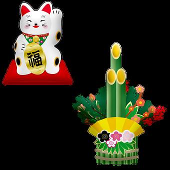 Maneki Neko, Japanese Lucky Cat, Bamboo, Chinese, Asia