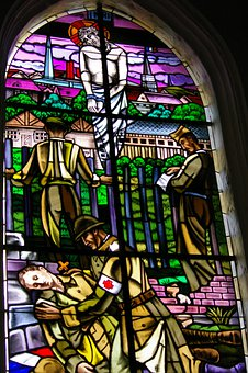 Stained Glass, Window, Church, Color, Soldiers, Man