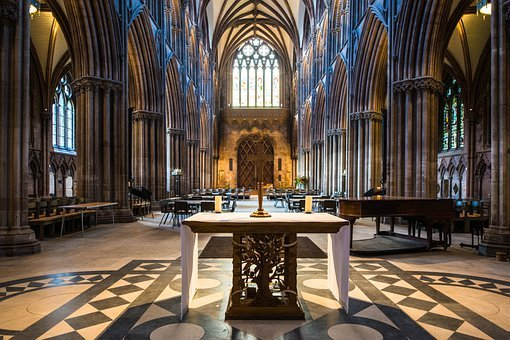 Lichfield, Cathedral, Nave, Noir, Altar, Cross