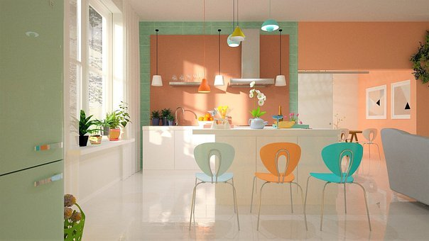 Kitchen, Chair, Fridge, Pastel, Pink, Green