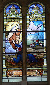 Stained Glass, Window, Church, Sainte