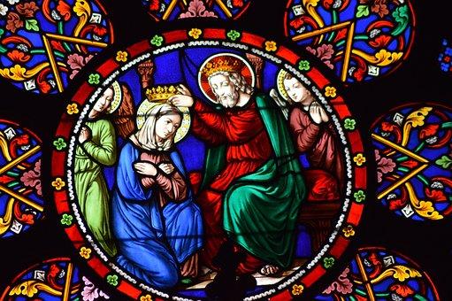 Stained Glass, Window, Church, Coronation, Virgin, Mary