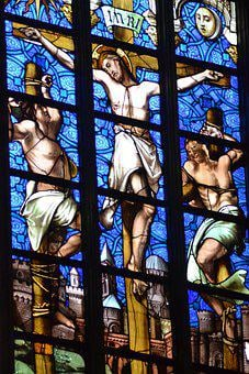 Stained Glass, Window, Church, Men, Three, Thieves