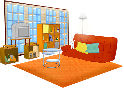 Living Room, Windows, Sofa, Cat, Television, Home