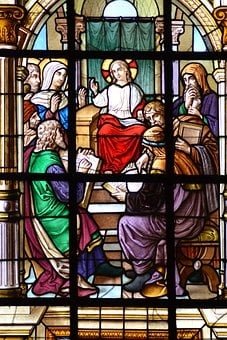 Stained Glass, Window, Church, Jesus, Teenager, Doctors
