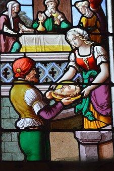 Stained Glass, Woman, Head, Saint, Jean-baptiste