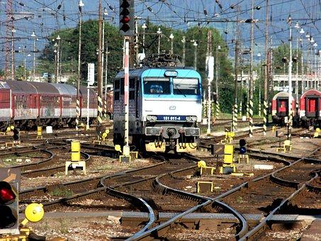 Yard, Locomotive, Electric Locomotive, Railway, Station
