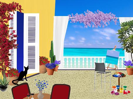 Balcony, Seaside, Flowers, Black Cat