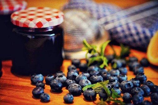 Blueberries, Jam, Berries, Delicious, Breakfast, Fruits