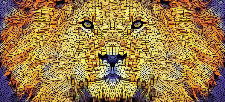Lion, Mane, Cat, Abstract, Predator