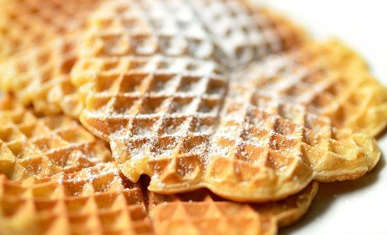 Waffles, Scrambled Eggs, Dessert, Eat, Waffle Heart