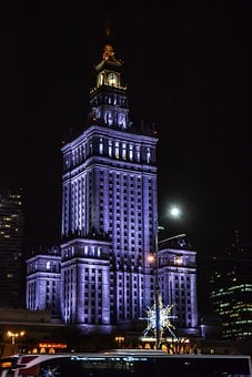 Palace, Kulture, Night, Warsaw, City, Poland