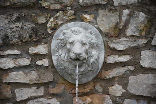 Fountain, Head, Stone, Stone Wall, Lion, Sculpture