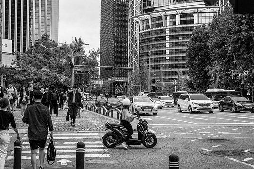 Seoul, Korea, South Korea, Street, Pedestrians, Traffic
