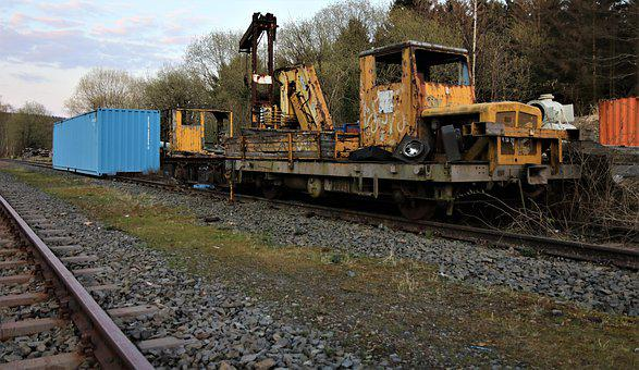 Truck Mounted Crane, Rail Vehicle, Discarded, Container