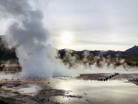Geyser, Desert, Atacama, Chile, Sun, Water, Vapour