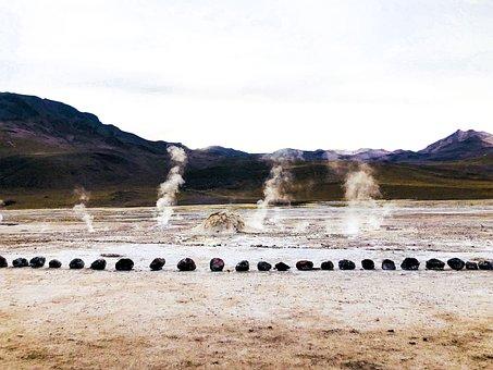 Geyser, Chile, Water, Vapour, Atacama, Geothermal