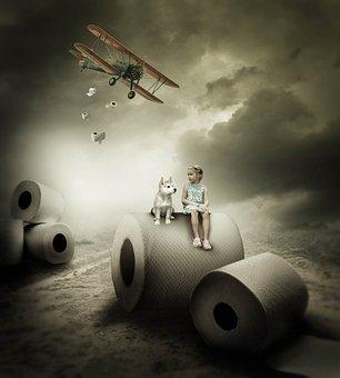 Fantasy, Toilet Paper, Girl, Dog, Double Decker, Sky