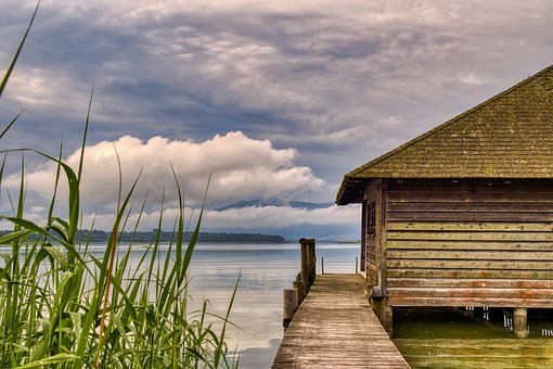 Landscape, Nature, Lake, Chiemsee, Boat House, Web
