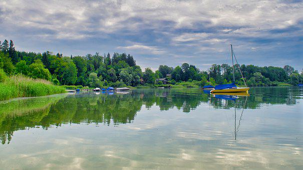 Landscape, Nature, Lake, Chiemsee, Upper Bavaria, Boats