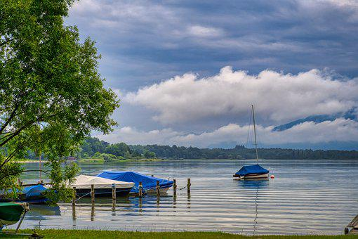 Landscape, Nature, Lake, Chiemsee, Upper Bavaria, Boats