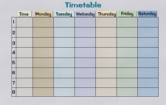 Timetable, Paper, Print Template