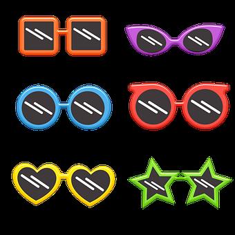 Sunglasses, Retro, Star, Cats Eye, Heart, Square