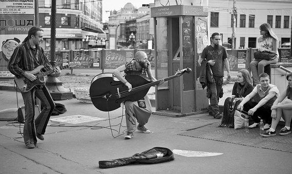 Street Musicians, City, Road, Square, Double Bass