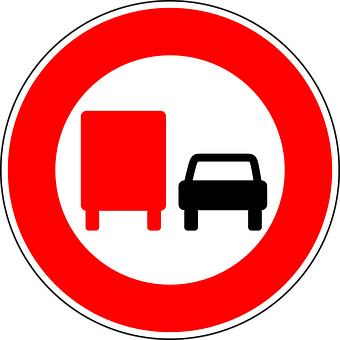 No Overtaking By Lorries, Traffic Sign, Sign