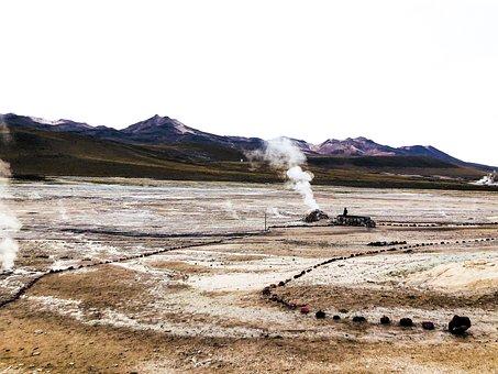 Geyser, Desert, Chile, Atacama, Nature, Andes, Thermal