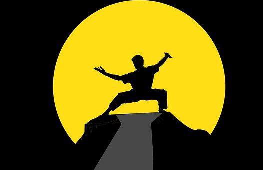 Fu, Kung, Kungfu, Master, Silhouette, Martial, China