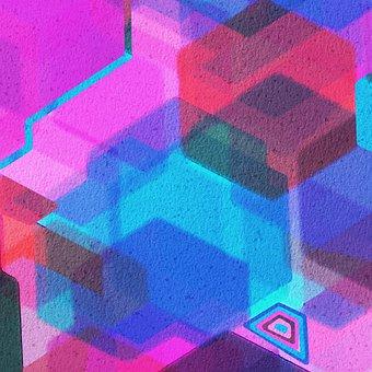 Watercolor Geometry, Digital Paper, Painting