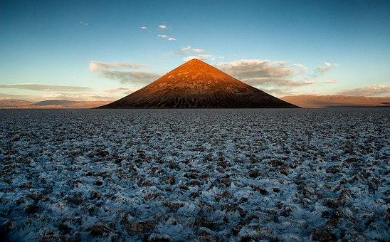 Mountain, Salt Flat, Desert, Argentina, Plain