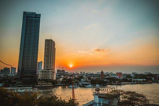 Sunset, Sun, City, Bangkok, Landscape