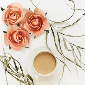 Coffee, Top View, Rose, Roses, Sweet