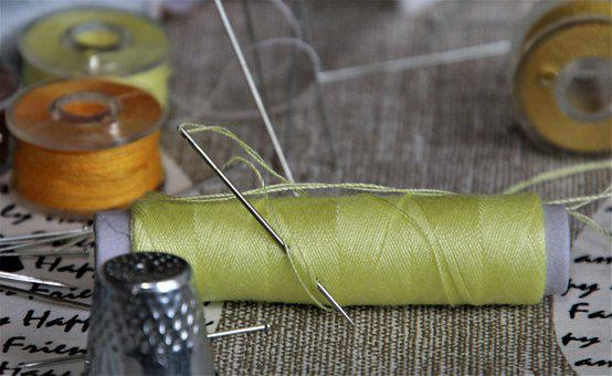 Sewing, Tailoring, Yellow, Needles, Coil, Thread, Pins