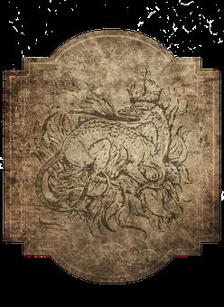 Vintage, Dragon, Fire Dragon, Crown, Symbol, Frame