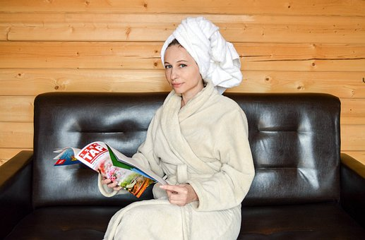 Robe, After A Shower, Girl, Vacation, Magazine, Sofa