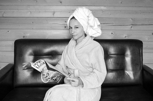 Robe, Woman, After A Shower, Vacation, Magazine, Sofa