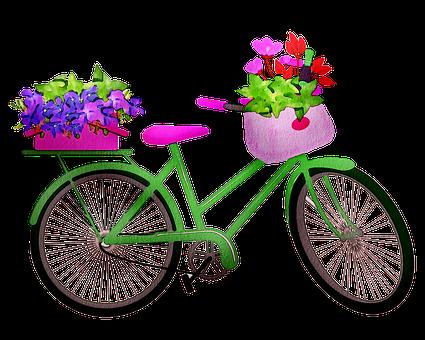 Watercolor Bicycle, Bicycle, Watercolor, Flowers