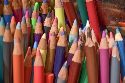 Pencils, Colors, Blue, Celeste, School, Rosa, Violet