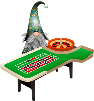 Gnome And Roulette Table, Christmas Gnome, Imp, Elf