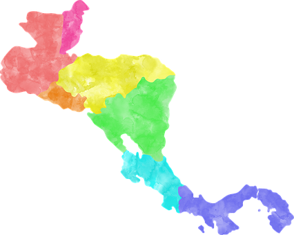 Central America, Rainbow, Map, Continents, Colorful