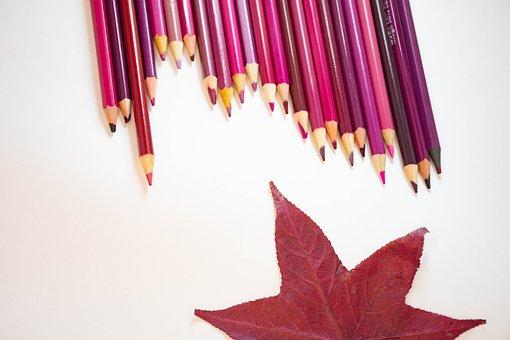 Pencils, Leaves, Floral, Design, Paper