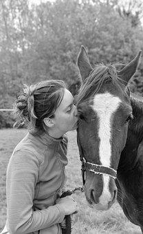 Horse, Animal, Girl, Portrait, Kiss, Rider, Equestrian