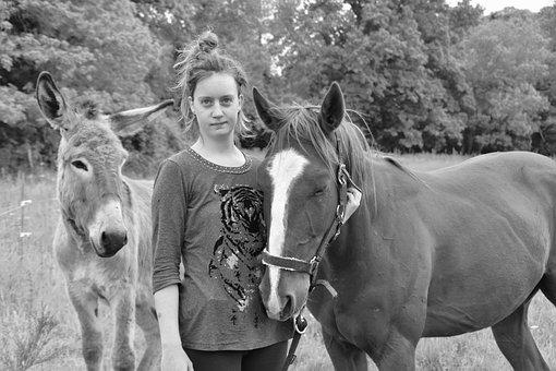 Donkey Horse Girl, Black And White Photo