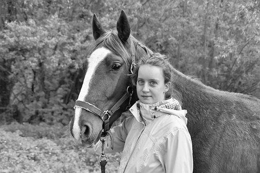 Girl, Girl With Her Horse, Black And White Photo